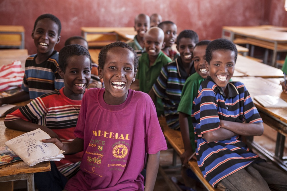 Somali children attending a Save the Children Education programme in a refugee camp to help them keep up with their studies.  Photo credit: Jonathan Hyams/Save the Children