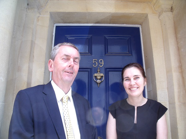 Michael Dickinson and Fiona Sultana outside Fussell Wright solicitors