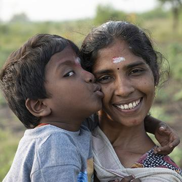 Born into India's underclass, Kasthuri, age 22 is mother to Mathi, 6